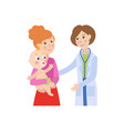 flat female doctor infant baby with mother vector image vector image