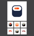 flat icon salmon set of japanese food sashimi vector image