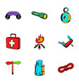 forest leisure icons set cartoon style vector image