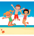Funny children on the beach vector image vector image