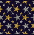 gold and silver stars on blue background vector image vector image