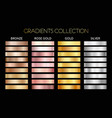gold silver bronze metal gradient collection vector image vector image