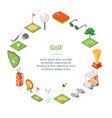 golf game equipment banner card circle isometric vector image vector image