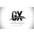 gx g x letter logo design with swoosh and black vector image vector image