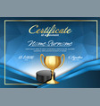 ice hockey game certificate diploma with golden vector image vector image