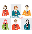 journalism male and female reporters holding vector image