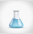 laboratory flask with blue liquid or water