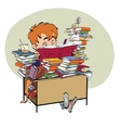 Literature student boy reads books vector image vector image