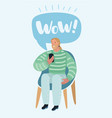 man talking on a mobile sitting on a chair vector image