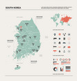 map south korea high detailed country map vector image vector image