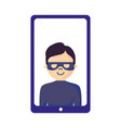 mobile hacker character on white background vector image vector image