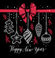 new years toys hand drawn style on black with red vector image