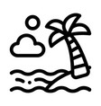 ocean view with palm icon outline vector image vector image