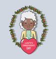old woman with branche design and heart vector image