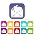 open envelope with heart icons set vector image