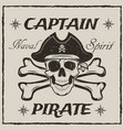 pirate captain skull and crossbones sketch vector image vector image