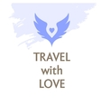 poster Travel with love Wings and heart vector image vector image