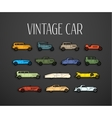 Retro icons set different silhouette shape cars vector image vector image
