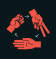 rock scissors paper gestures stylized hands in vector image