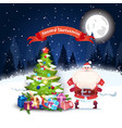 santa at christmas tree over night forest vector image