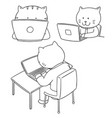 set of cat office worker vector image