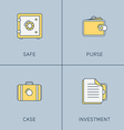 Set of Modern Thin Line Icons Safe Purse Case vector image