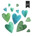 set watercolor green heart vector image