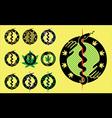 snake silhouette symbol marijuana cannabis leaf vector image