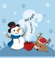 snowman and deer vector image vector image
