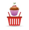 sweet cupcake basket vector image vector image