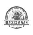 vintage cattle beef label emblem logo design vector image vector image