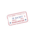 visa stamp arrival to manchester airport isolated vector image vector image
