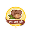 walnut oil logo natural product emblem vector image vector image