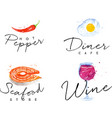 Watercolor label seafood vector image vector image