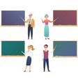 young man woman senior male and female teachers vector image vector image