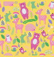 pattern with cute cartoon forest animals baby vector image