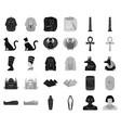 ancient egypt blackmonochrome icons in set