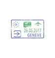 arrival to geneva airport isolated visa stamp vector image vector image
