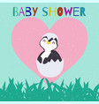 baby shower with cute penguin chick just hatched vector image