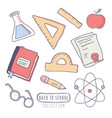back to school stickers set with school supplies vector image