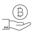 bitcoin on hand thin line icon finance and money vector image vector image