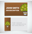 business card print template with money tree logo vector image
