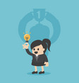 cheerful businesswoman fwith trophy cup vector image