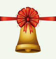 christmas ornament colorful bell with red vector image