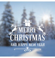christmas vintage card with defocused snow-covered vector image