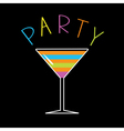 Colorful cocktail in martini glass Word Party Card vector image