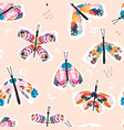 colourful artistic butterfly pattern in watercolor vector image