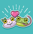 cute frog couple animal design vector image
