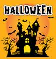 cute halloween silhouette castle vector image vector image