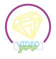 diamond button neon video game vector image vector image